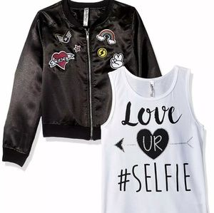 2pcs! Patched bomber jacket and selfie tank top